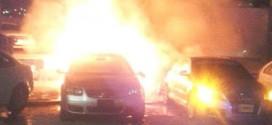 Autos consumidos por incendio en agencia automotriz de Ecatepec